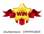 winner gold star with red...