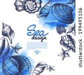 seashell background. sea... | Shutterstock .eps vector #199495106