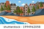 beach scene with cityscape...   Shutterstock .eps vector #1994962058