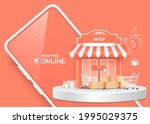 gift boxes  parcel boxes ... | Shutterstock .eps vector #1995029375