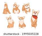 cute corgi in different poses... | Shutterstock .eps vector #1995035228