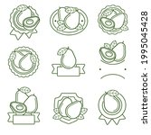 avocado label and icons set.... | Shutterstock .eps vector #1995045428