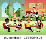 elementary students eating...   Shutterstock .eps vector #1995054605