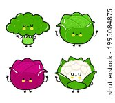 funny cute happy white cabbage  ...   Shutterstock .eps vector #1995084875