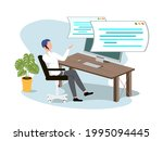 working from home at relaxed... | Shutterstock .eps vector #1995094445