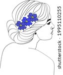 abstract face with flowers line ... | Shutterstock .eps vector #1995110255