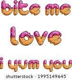 set of donut like titles. love. ... | Shutterstock .eps vector #1995149645
