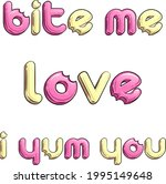 set of candy like titles. love. ... | Shutterstock .eps vector #1995149648