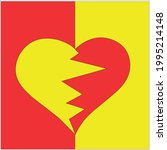 red yellow heart on a red... | Shutterstock .eps vector #1995214148