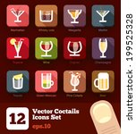 12 modern flat cocktails and... | Shutterstock .eps vector #199525328