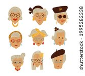 stylish grandma's faces picture ... | Shutterstock .eps vector #1995282338