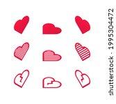 set of isometric red heart... | Shutterstock .eps vector #1995304472
