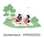 two girlfriends in casual wear... | Shutterstock .eps vector #1995323522