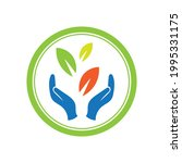 creative hand and leaf logo... | Shutterstock .eps vector #1995331175