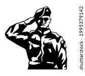 soldier in saluting silhouette...   Shutterstock .eps vector #1995379142