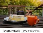 rustic breakfast. wooden coffee ... | Shutterstock . vector #1995437948