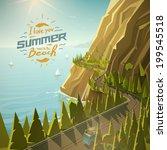 mountain road vector... | Shutterstock .eps vector #199545518