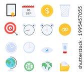 set of office accessories flat...   Shutterstock .eps vector #1995457055