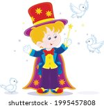 little boy illusionist with a... | Shutterstock .eps vector #1995457808