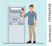 man customer standing near atm... | Shutterstock .eps vector #1995463928