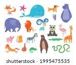 set of cute cartoon wild and... | Shutterstock .eps vector #1995475535
