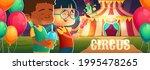 kids in amusement park with... | Shutterstock .eps vector #1995478265