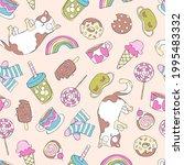 fun cartoon print. crazy cat ... | Shutterstock .eps vector #1995483332