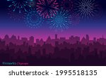 night cityscape with fireworks. ...   Shutterstock .eps vector #1995518135