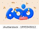 600 followers thank you 3d blue ... | Shutterstock .eps vector #1995545012