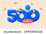 500 followers thank you 3d blue ... | Shutterstock .eps vector #1995545018