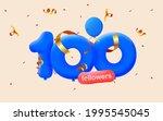 100 followers thank you 3d blue ... | Shutterstock .eps vector #1995545045