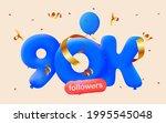 90k followers thank you 3d blue ... | Shutterstock .eps vector #1995545048