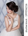 beautiful sensual brunette with ...   Shutterstock . vector #199556216