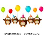 birthday owls with color... | Shutterstock .eps vector #199559672