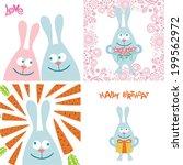 rabbits cute cartoon set card