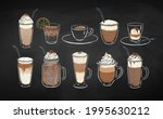 collection of coffee drinks... | Shutterstock .eps vector #1995630212
