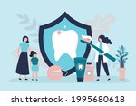 dentist explains to mother with ... | Shutterstock .eps vector #1995680618