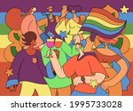 a crowd marching in a pride... | Shutterstock .eps vector #1995733028