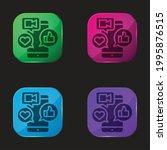app four color glass button icon