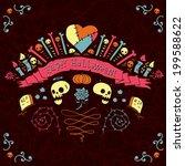 happy halloween greeting card.... | Shutterstock .eps vector #199588622