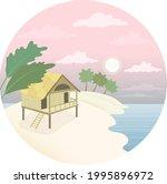 A Hut On The Beach. Landscape...