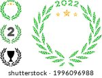 mosaic 2022 laurel wreath icon...   Shutterstock .eps vector #1996096988
