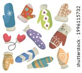 a set of knitted bright mittens....   Shutterstock .eps vector #1996115732