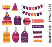 birthday scrapbook design set.... | Shutterstock .eps vector #1996145258