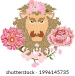 leo and flower of astrology...   Shutterstock .eps vector #1996145735