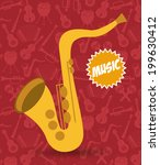 music design over red... | Shutterstock .eps vector #199630412