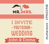 wedding design over pink... | Shutterstock .eps vector #199631948