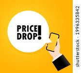price drop. smartphone with a... | Shutterstock .eps vector #1996335842