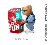 let's play slogan with bear...   Shutterstock .eps vector #1996383878