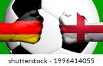 Flags of Germany and England painted on two clenched fists facing each other with closeup 3D rendering football soccer ball in the background. Mixed media football match game concept